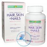 Nature's Bounty Hair Skin and Nails 5000 mcg of Biotin per serving 250 แคปซูล ด้วยไบโอตินเข้มข้น บำรุงผม ผิว และเล็บ ให้แข็งแรง