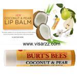 Burt's Bees Coconut & Pear Moisturizing Lip Balm 4.25g โคโค่นัทออยล์และลูกแพร์ผสานกับเชียร์บัตเตอร์คืนความชุ่มชื้นพร้อมกลิ่นหอมพืชพรรณเมืองร้อน