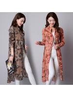 พรีออเดอร์ เสื้อคลุม ตัวยาว แขนยาว ลายดอก ผ้าฝ้าย สีน้ำตาล สีส้ม Size M-XXL ปลีก430 ส่ง390