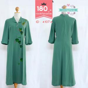 41074 เดรสสีเขียว เพ้นท์ลาย