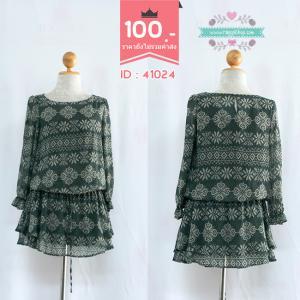 41024 (ID 3339 จองคะ) เสื้อตัวยาวสีเทา