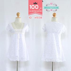 41038(id 3342 จองคะ)เดรสสีขาวลูกไม้