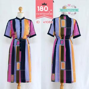 41080 (ID 3360 จองคะ) เดรสสีม่วงพิมพ์ลาย