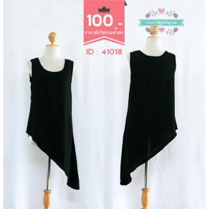 41018(id 3386 จองคะ)เดรสสีดำแขนกุด