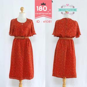 41081(id 3372 จองคะ)เดรสสีแดงพิมพ์ลาย