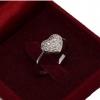แหวนประดับเพชรรูปหัวใจ อัลลอยด์ชุบทองคำขาวแท้
