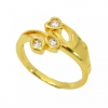 แหวนประดับเพชรรูปหัวใจ อัลลอยด์ชุบทองคำแท้