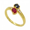 แหวนพลอยทับทิมและไพลินประดับเพชร ตัวเรือนอัลลอยด์หุ้มทองคำแท้