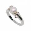 แหวนไข่มุุกแท้ประดับเพชร อัลลอยด์หุ้มทองคำขาวแท้