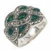 แหวนเงินแท้มาร์คาไซท์สวารอฟสกี้ ประดับหินสี