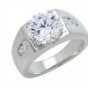 แหวนประดับเพชรฝังหนามเตยและฝังสอดด้านข้าง ชุบทองคำขาวแท้