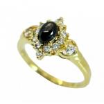 แหวนไพลินล้อมเพชร ตัวเรือนอัลลอยด์หุ้มทองคำแท้