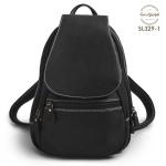 SL329-1 กระเป๋าสะพายหลังหนังแท้ ใบเล็ก สีดำ