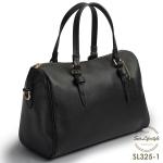 SL325-1 กระเป๋าถือ หนังแท้ saffiano สีดำ