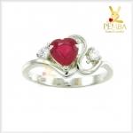 แหวนทับทิม เงินแท้ ชุบทองคำขาว รูปหัวใจ