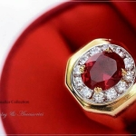 แหวนผู้ชายหุ้มทองแท้ประดับด้วยเพชรสวิส cz แท้ รหัส INJ203