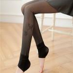 เลคกิ้งกันหนาว ซีทรู สีดำ สกรีนรูปผีเสื้อปลายขา ขาเหยียบ บุขนกำมะหยี่สีเนื้อ ใส่แล้วเหมือนเห็นเนื้อลาง ๆ สวย เซ็กซี่ค่ะ ปลีก490 ส่ง450