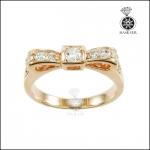 แหวนเงินแท้ 925 ชุบ Pink gold รูปโบว์ ฝังเพชร CZ สีขาว