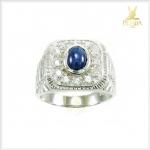 แหวนไพลินกาญ ล้อมเพชรCZ สัญลักษณ์ของความร่ำรวย