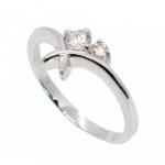 แหวนชุบทองคำขาวแท้ ประดับเพชร CZ