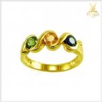 แหวนพลอย 3 สี เขียวส่อง บุษราคัม ไพลิน สวยเก๋หลากสีสัน(สอบถามราคา)