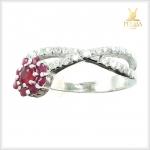 แหวนทับทิม เงินแท้ ชุบทองคำขาว