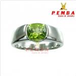 แหวนเพริดอต เงินแท้925 ชุบทองคำขาว (ส่งฟรีEMS)