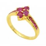 แหวนพลอยทับทิม ตัวเรือนอัลลอยด์หุ้มทองคำแท้
