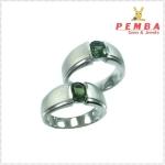 แหวนพลอยคู่รักFeel good พลอยเขียวส่องแท้ เงินแท้925 ชุบทองคำขาว