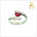 แหวนทับทิมแท้ ชุบทองคำขาว เล็กๆ น่ารักๆ