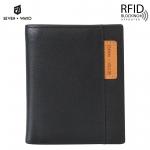 SEVEN WAYO กระเป๋าสตางค์ผู้ชายหนังแท้ RFID Blocking กระเป๋าสตางค์ใบสั้น แนวตั้ง สีดำ กระเป๋าเงิน กระเป๋าถือ SW01-Brown