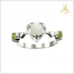 แหวนโอปอลขาว เงินแท้ ชุบทองคำขาว
