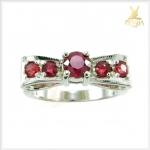 แหวนทับทิมสยามแท้ เงินแท้ รูปโบว์ น่ารักๆ