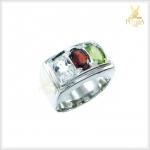 แหวนพลอยแท้ 3 สี เงินแท้ ชุบทองคำขาว