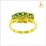 แหวนเขียวส่องแท้ 5 เม็ดเรียง สวมใส่ติดนิ้วได้ทุกโอกาส(สอบถามราคา)