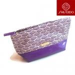 Shiseido Cosmetic Bag กระเป๋าใส่เครื่องสำอางฐานกว้าง ตัวกระเป๋าเป็นผ้าพิมพ์ลายส่วนฐานเป็นหนังแก้วเทียม ทำให้ทนทาน ตั้งอยู่ทรง ใส่ของจุ