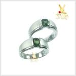 แหวนพลอยคู่รักFeel good พลอยเขียวส่องแท้ เงินแท้