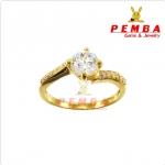 แหวนเงินแท้ 925 ชุบทองไมครอน ประดับเพชรCZ H&A