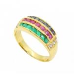 แหวนพลอยประดับเพชร โมรา ไพลิน ทับทิม ตัวเรือนอัลลอยด์หุ้มทองคำแท้