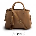 SL344-2 กระเป๋าถือ/สะพาย หนังแท้ สีน้ำตาล