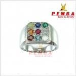 แหวนพลอยนพเก้าแท้ ตามตำรา เงินแท้925 ชุบทองคำขาว