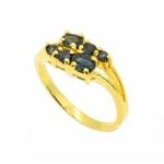 แหวนพลอยไพลิน ตัวเรือนอัลลอยด์หุ้มทองคำแท้
