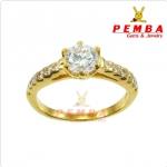 แหวนเงินแท้ ชุบทองไมครอน หนาพิเศษ ประดับเพชรCZ H&A