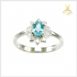 แหวนเพทายแท้ สีฟ้าสวยใสดั่งน้ำทะเล ใส่เสริมเพิ่มความมั่นใจ