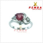 แหวนทับทิม เงินแท้925 ชุบทองคำขาว รูปหัวใจ
