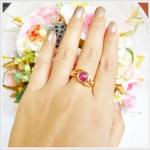 แหวนท้บทิมพม่าแท้ ทองแท้90 สีชมพูหวานๆ (สามารถสั่งทำได้ค่ะ)