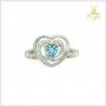 แหวนเพทายแท้ ดีไซน์รูปหัวใจสุดเก๋ ใส่ติดนิ้่วน่ารักๆ