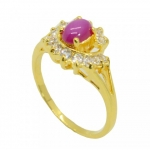 แหวนพลอยทับทิม อัลลอยด์ หุ้มทองคำแท้