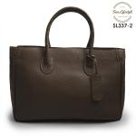 SL337-2 กระเป๋าถือหนังแท้ ชนิดหนังอัดลาย สีน้ำตาล (Brown)