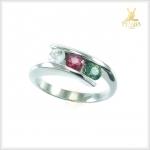 แหวนพลอย3 สี เงินแท้ ชุบทองคำขาว